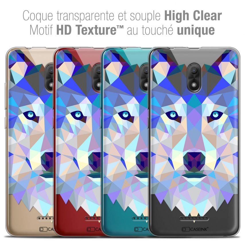 "Coque Crystal Gel Wiko Jerry 3 (5.45"") Extra Fine Polygon Animals - Loup"