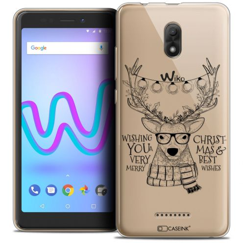 """Coque Crystal Gel Wiko Jerry 3 (5.45"""") Extra Fine Noël 2017 - Cerf Hipster"""