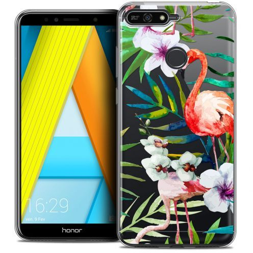 "Coque Crystal Gel Honor 7A (5.7"") Extra Fine Watercolor - Tropical Flamingo"
