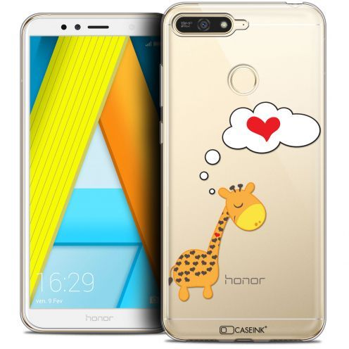 "Coque Crystal Gel Honor 7A (5.7"") Extra Fine Love - Girafe Amoureuse"