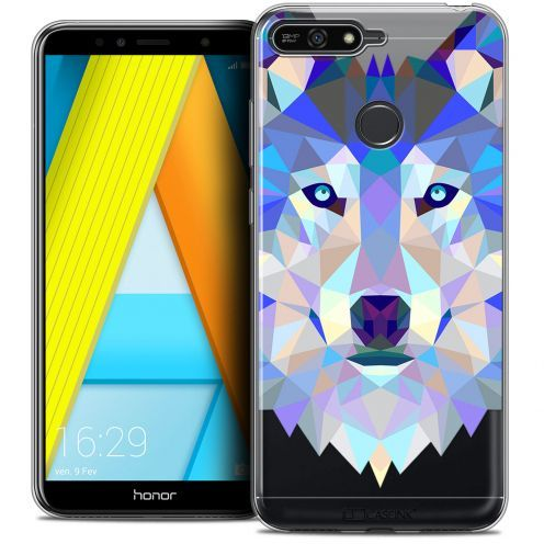 "Coque Crystal Gel Honor 7A (5.7"") Extra Fine Polygon Animals - Loup"