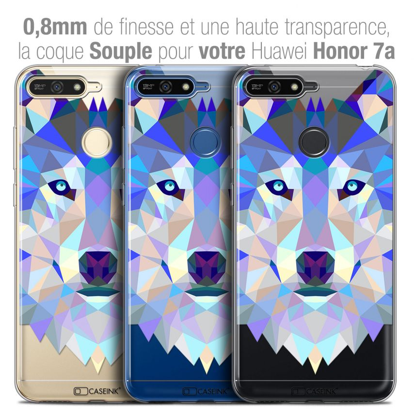 """Coque Crystal Gel Honor 7A (5.7"""") Extra Fine Polygon Animals - Loup"""