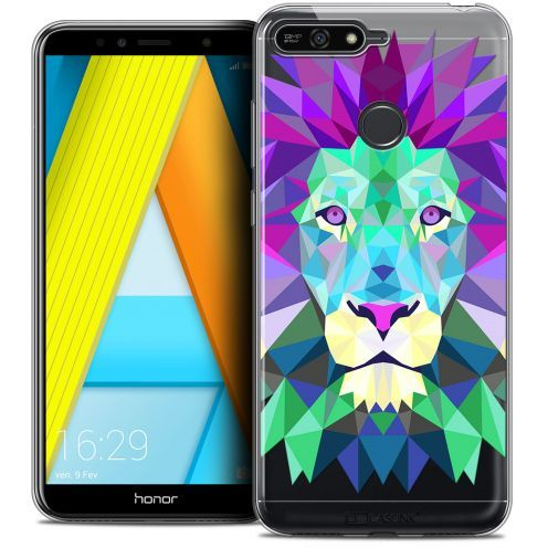 "Coque Crystal Gel Honor 7A (5.7"") Extra Fine Polygon Animals - Lion"