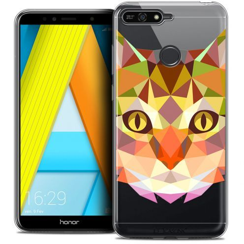 "Coque Crystal Gel Honor 7A (5.7"") Extra Fine Polygon Animals - Chat"