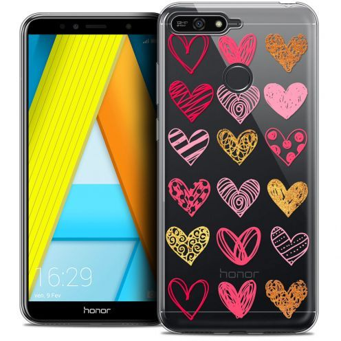 "Coque Crystal Gel Honor 7A (5.7"") Extra Fine Sweetie - Doodling Hearts"