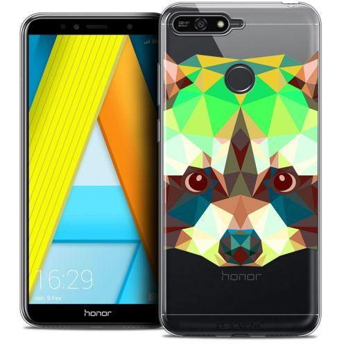 "Coque Crystal Gel Honor 7A (5.7"") Extra Fine Polygon Animals - Raton Laveur"