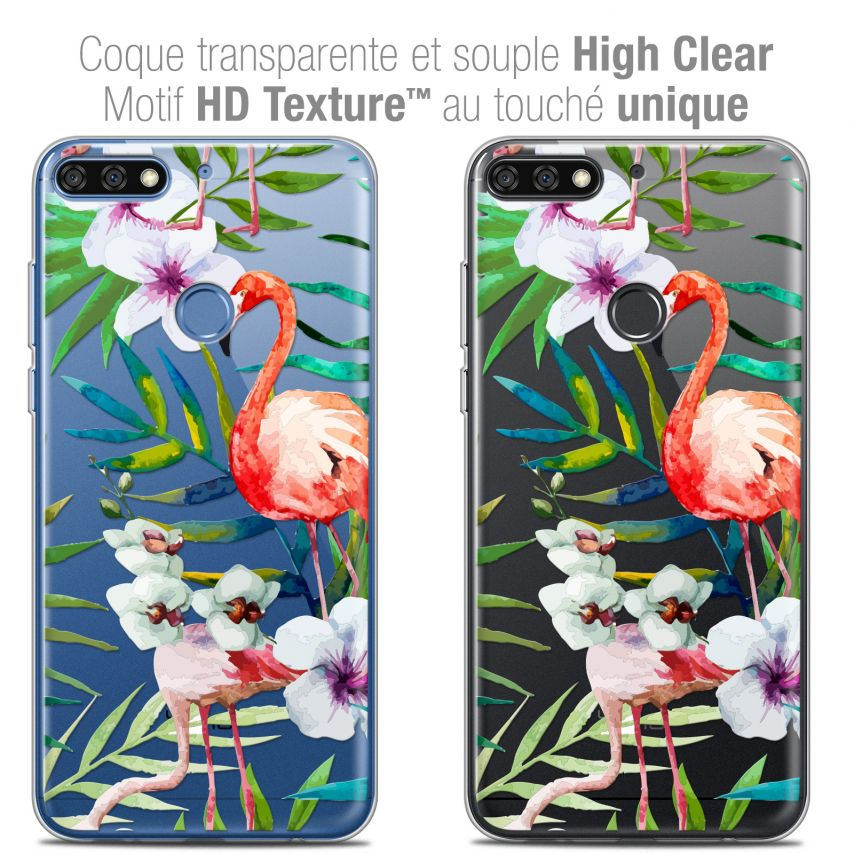 "Coque Crystal Gel Honor 7C (5.99"") Extra Fine Watercolor - Tropical Flamingo"