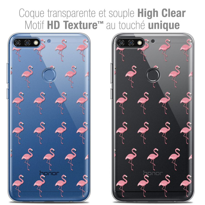 "Coque Crystal Gel Honor 7C (5.99"") Extra Fine Pattern - Les flamants Roses"