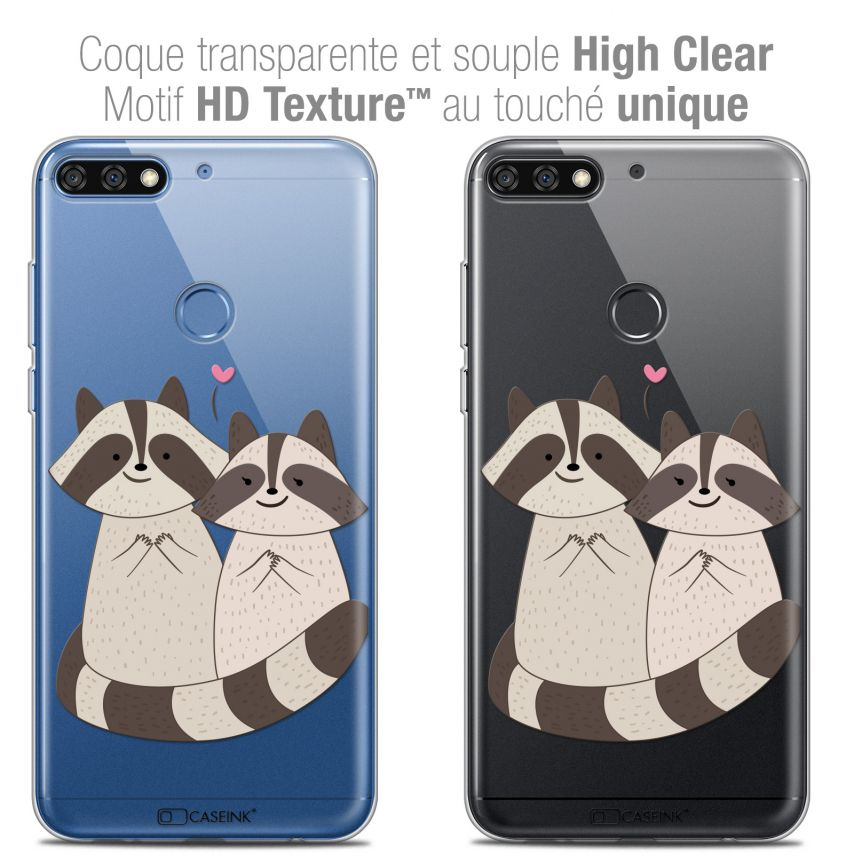 "Coque Crystal Gel Honor 7C (5.99"") Extra Fine Sweetie - Racoon Love"