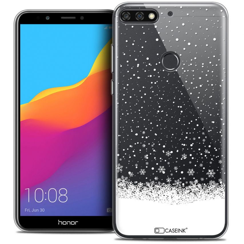 "Coque Crystal Gel Honor 7C (5.99"") Extra Fine Noël 2017 - Flocons de Neige"