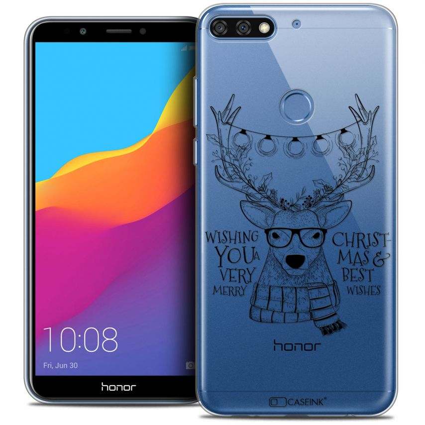 """Coque Crystal Gel Honor 7C (5.99"""") Extra Fine Noël 2017 - Cerf Hipster"""