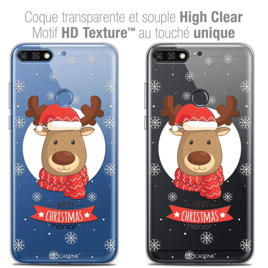 "Coque Crystal Gel Honor 7C (5.99"") Extra Fine Noël 2017 - Cerf à Echarpe"