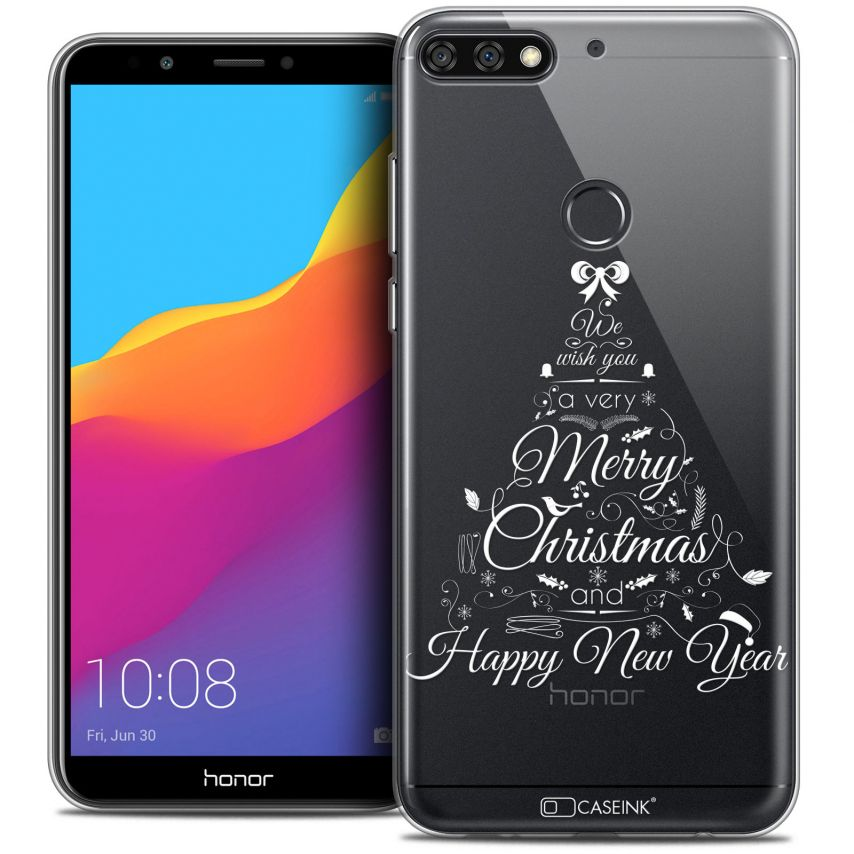 "Coque Crystal Gel Honor 7C (5.99"") Extra Fine Noël 2017 - Calligraphie"