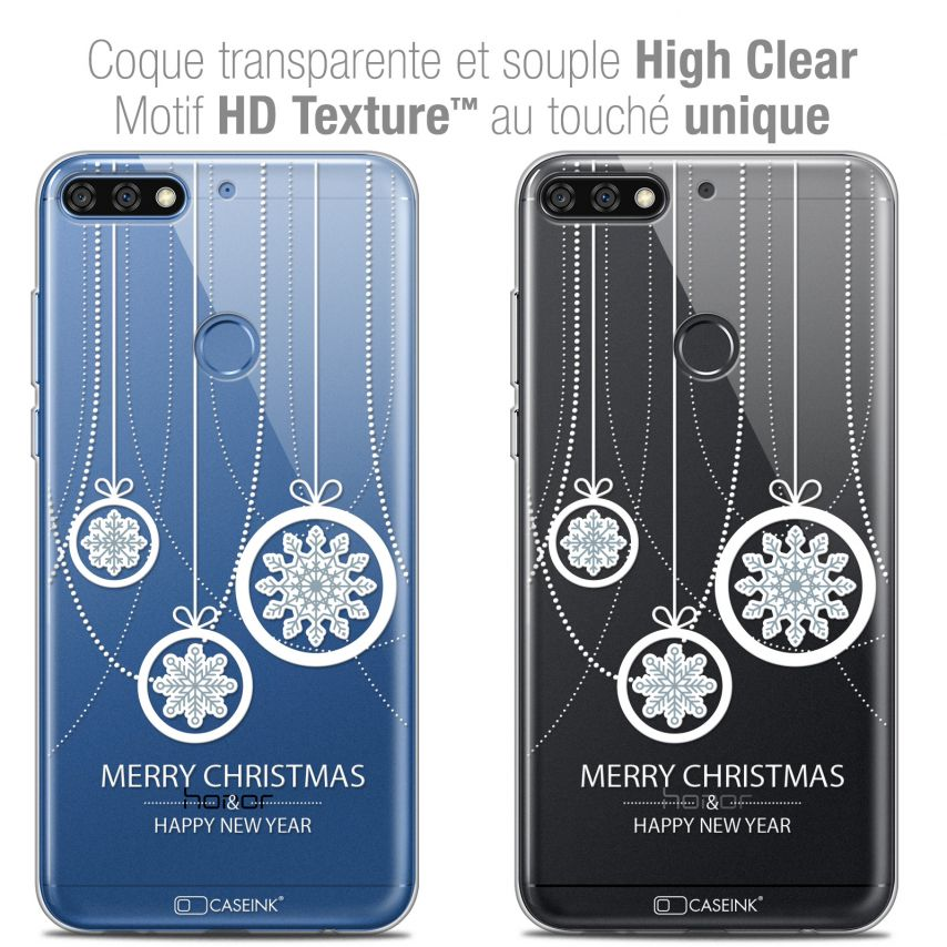 "Coque Crystal Gel Honor 7C (5.99"") Extra Fine Noël 2017 - Christmas Balls"