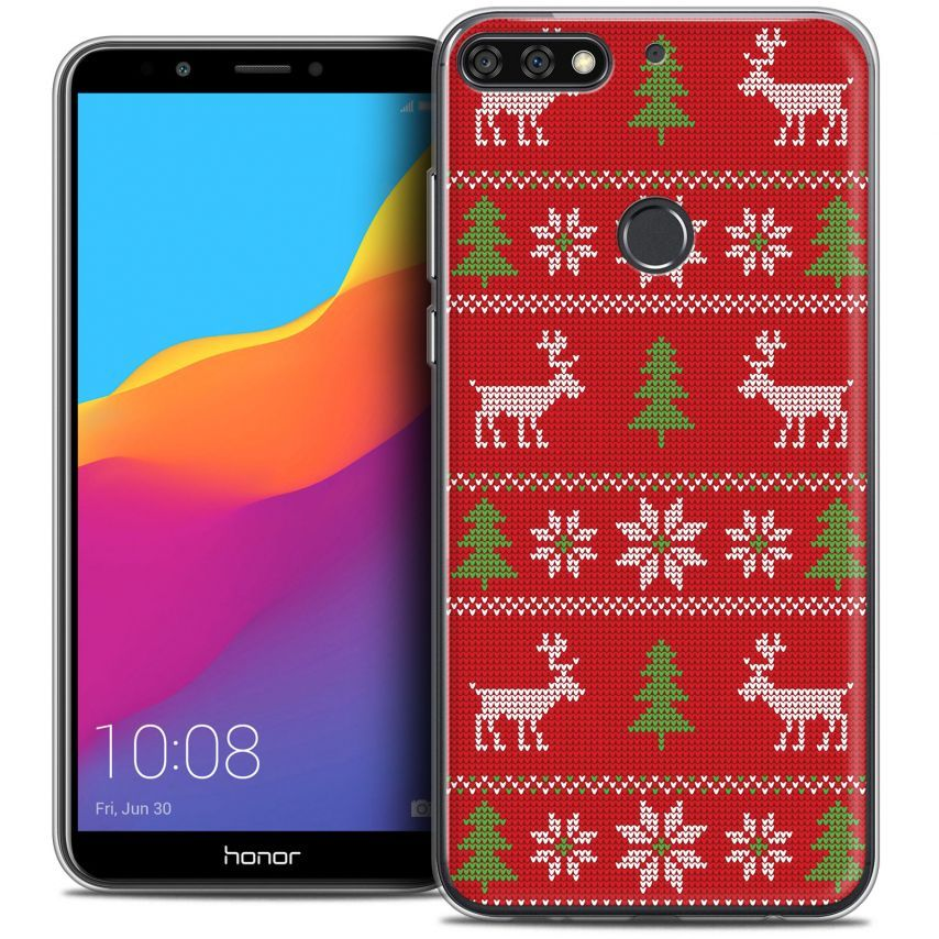 """Coque Crystal Gel Honor 7C (5.99"""") Extra Fine Noël 2017 - Couture Rouge"""