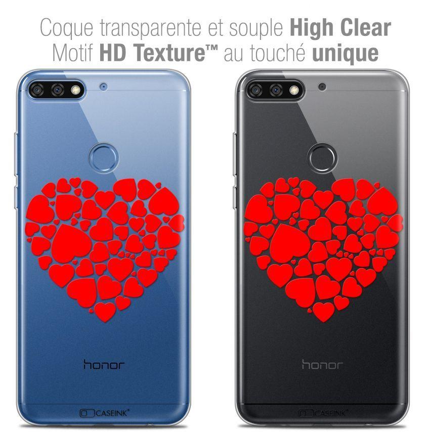 """Coque Crystal Gel Honor 7C (5.99"""") Extra Fine Love - Coeur des Coeurs"""