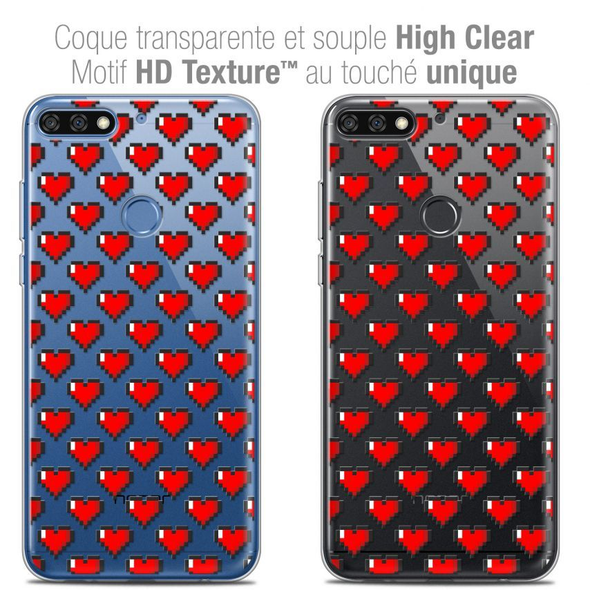 "Coque Crystal Gel Honor 7C (5.99"") Extra Fine Love - Pixel Art"