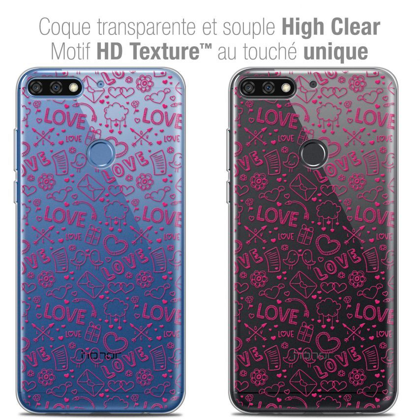 "Coque Crystal Gel Honor 7C (5.99"") Extra Fine Love - Doodle"
