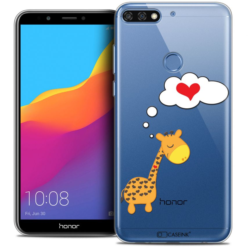 "Coque Crystal Gel Honor 7C (5.99"") Extra Fine Love - Girafe Amoureuse"