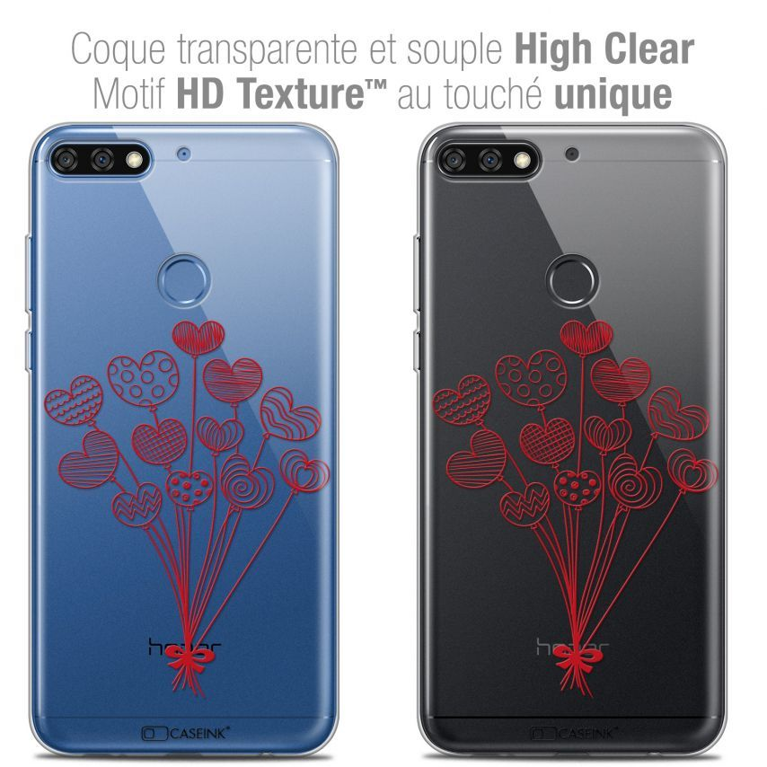 "Coque Crystal Gel Honor 7C (5.99"") Extra Fine Love - Ballons d'amour"