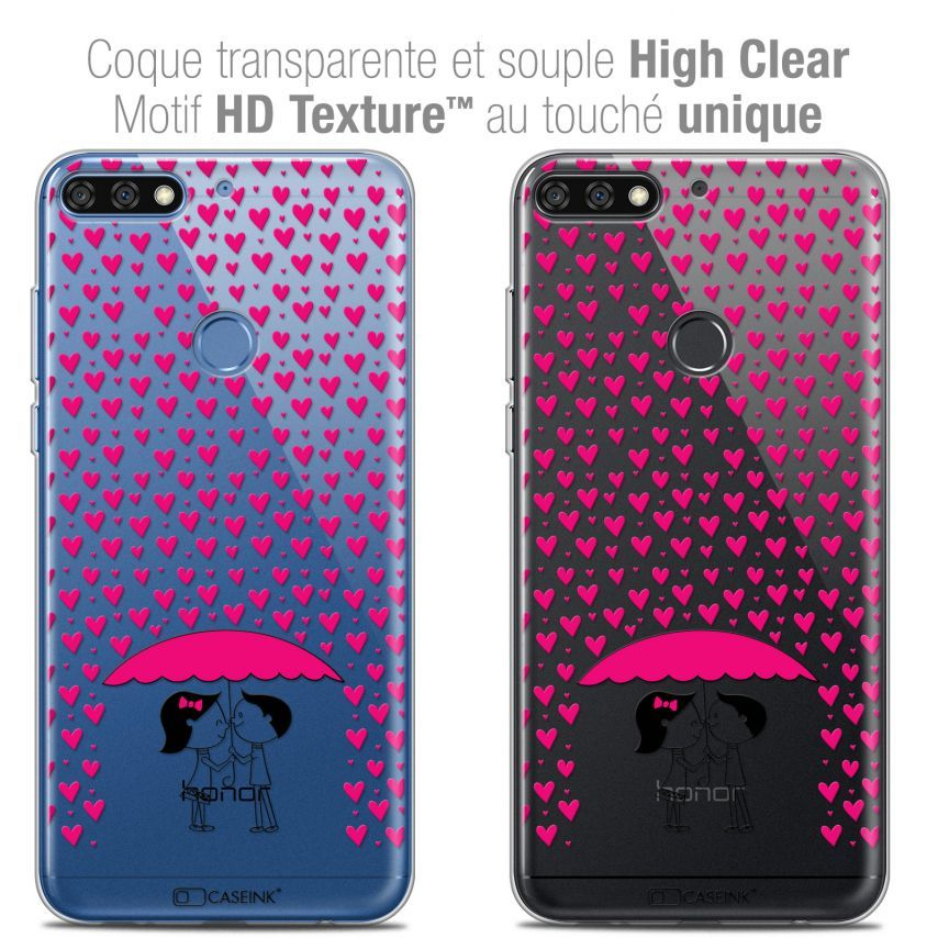"Coque Crystal Gel Honor 7C (5.99"") Extra Fine Love - Pluie d'Amour"