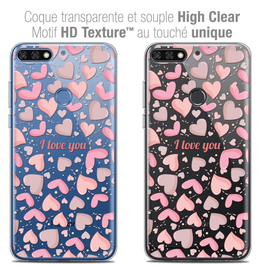 "Coque Crystal Gel Honor 7C (5.99"") Extra Fine Love - I Love You"