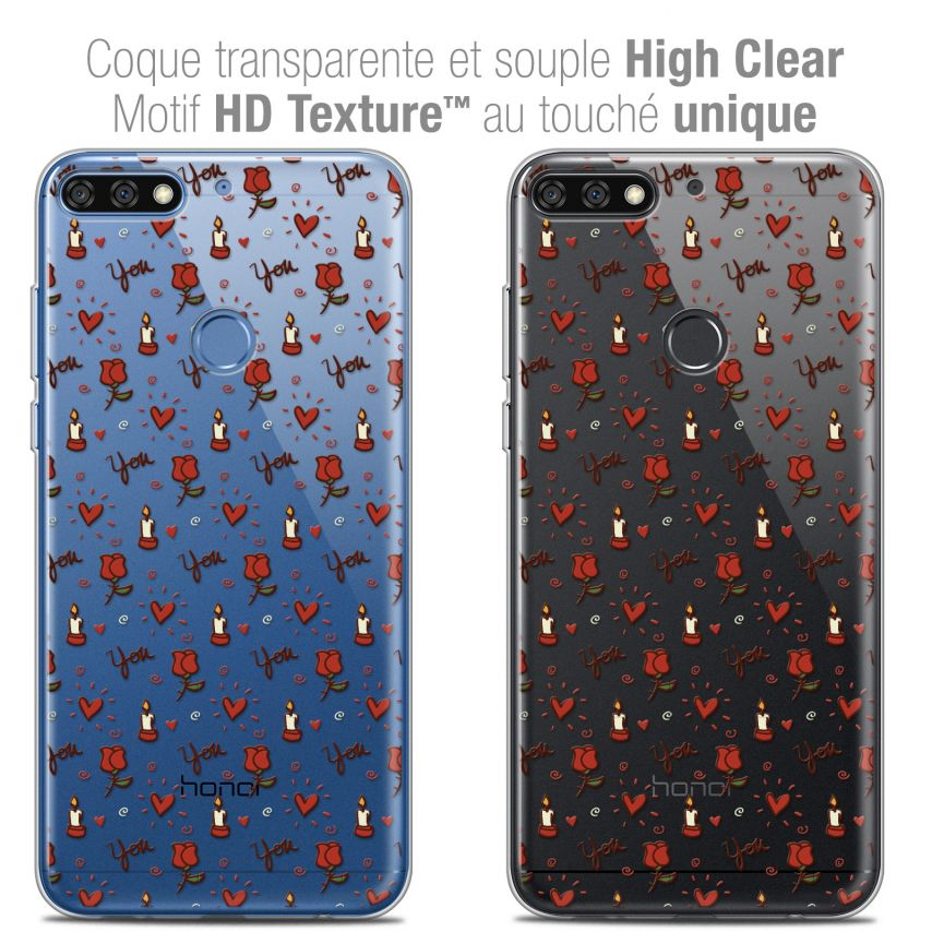 """Coque Crystal Gel Honor 7C (5.99"""") Extra Fine Love - Bougies et Roses"""