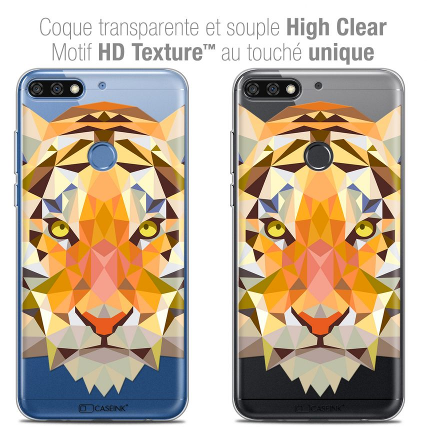 "Coque Crystal Gel Honor 7C (5.99"") Extra Fine Polygon Animals - Tigre"