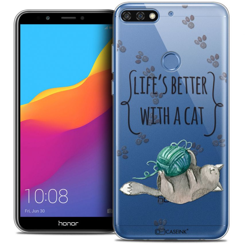"Coque Crystal Gel Honor 7C (5.99"") Extra Fine Quote - Life's Better With a Cat"