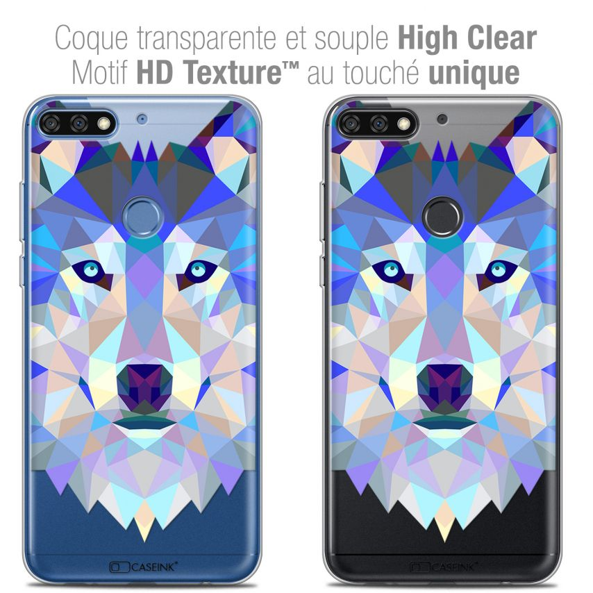 "Coque Crystal Gel Honor 7C (5.99"") Extra Fine Polygon Animals - Loup"