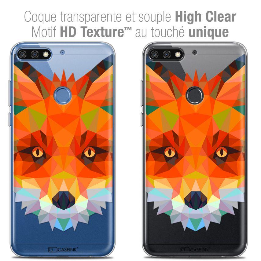 """Coque Crystal Gel Honor 7C (5.99"""") Extra Fine Polygon Animals - Renard"""