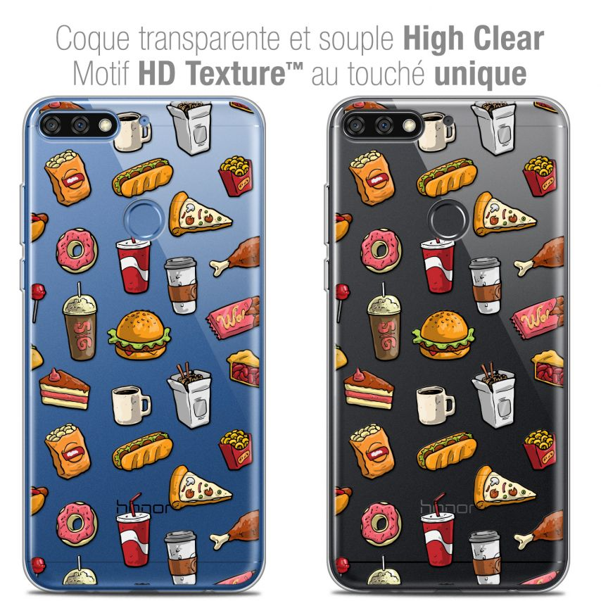 "Coque Crystal Gel Honor 7C (5.99"") Extra Fine Foodie - Fast Food"