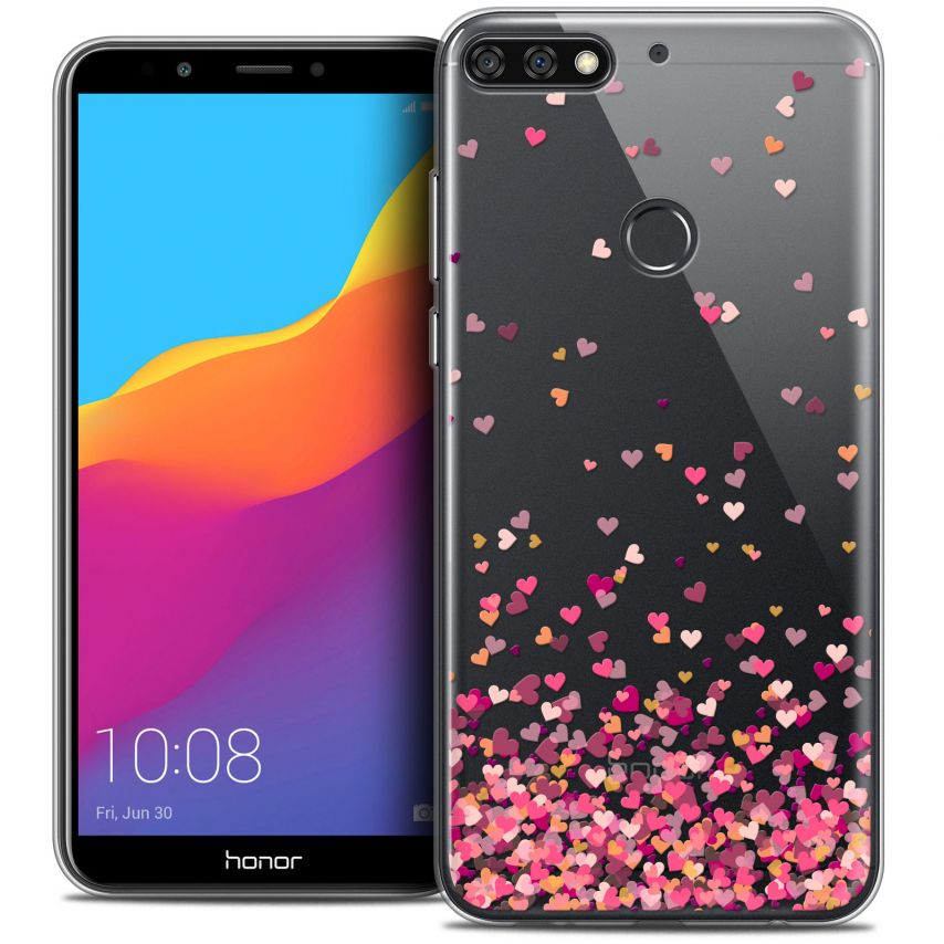 """Coque Crystal Gel Honor 7C (5.99"""") Extra Fine Sweetie - Heart Flakes"""