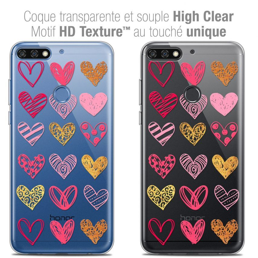 "Coque Crystal Gel Honor 7C (5.99"") Extra Fine Sweetie - Doodling Hearts"