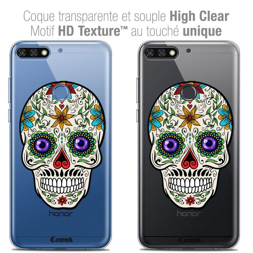 "Coque Crystal Gel Honor 7C (5.99"") Extra Fine Skull - Maria's Flower"