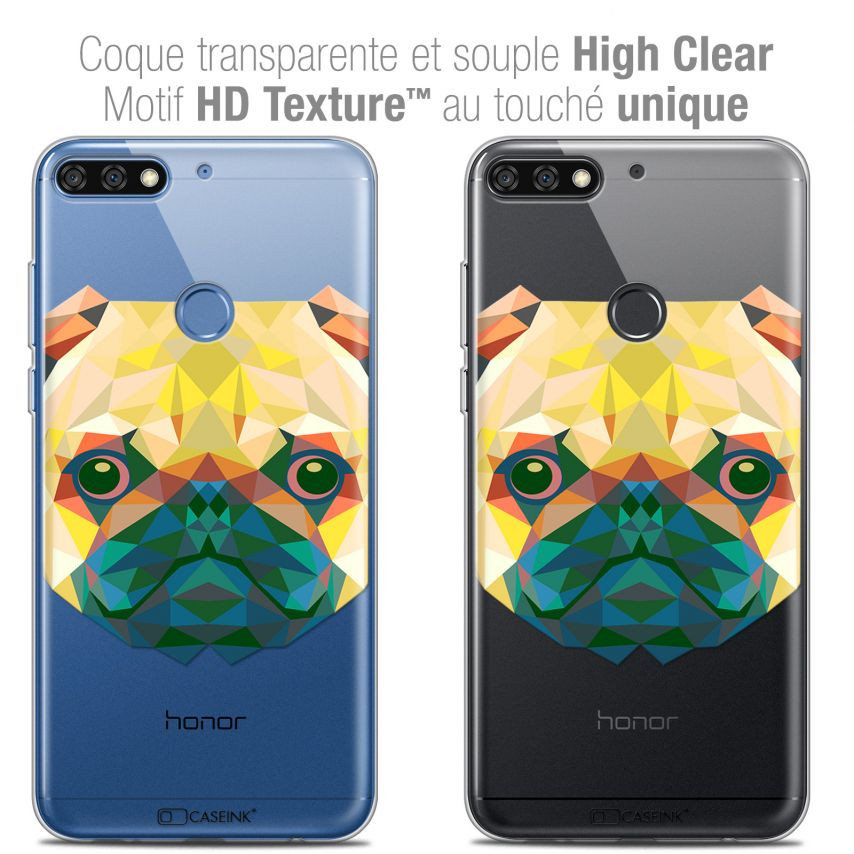 "Coque Crystal Gel Honor 7C (5.99"") Extra Fine Polygon Animals - Chien"