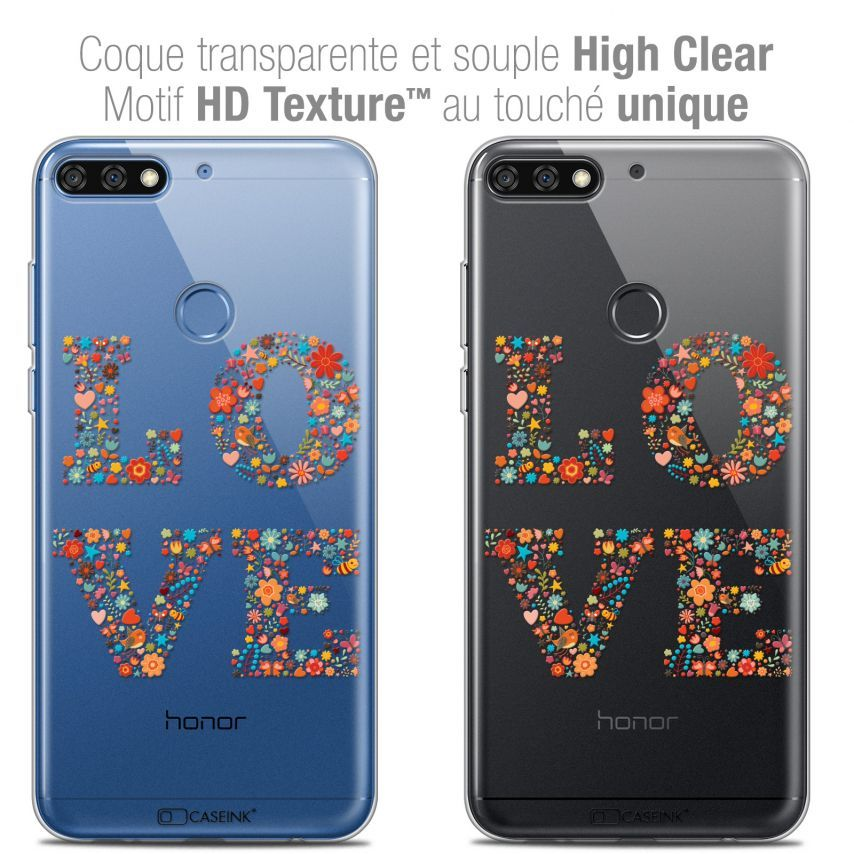 "Coque Crystal Gel Honor 7C (5.99"") Extra Fine Summer - Love Flowers"