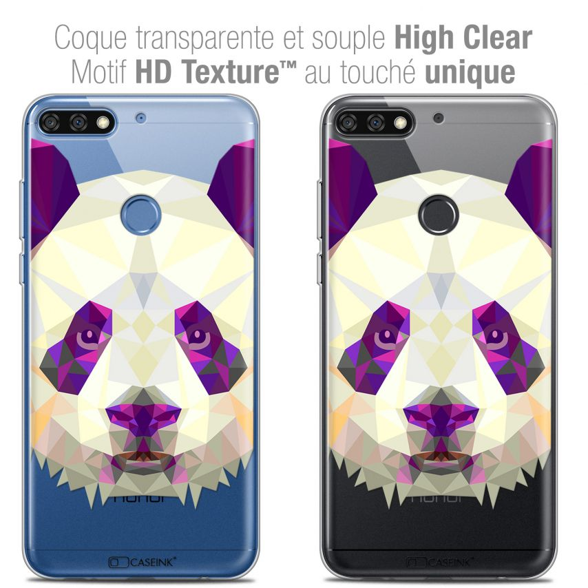 "Coque Crystal Gel Honor 7C (5.99"") Extra Fine Polygon Animals - Panda"