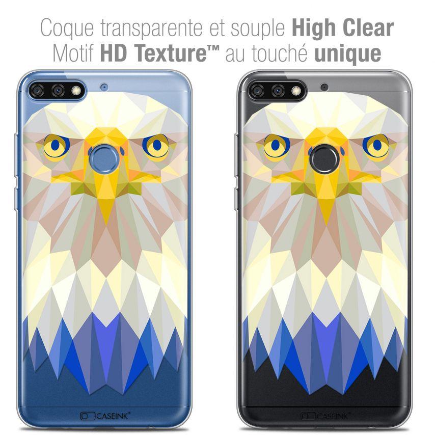 "Coque Crystal Gel Honor 7C (5.99"") Extra Fine Polygon Animals - Aigle"
