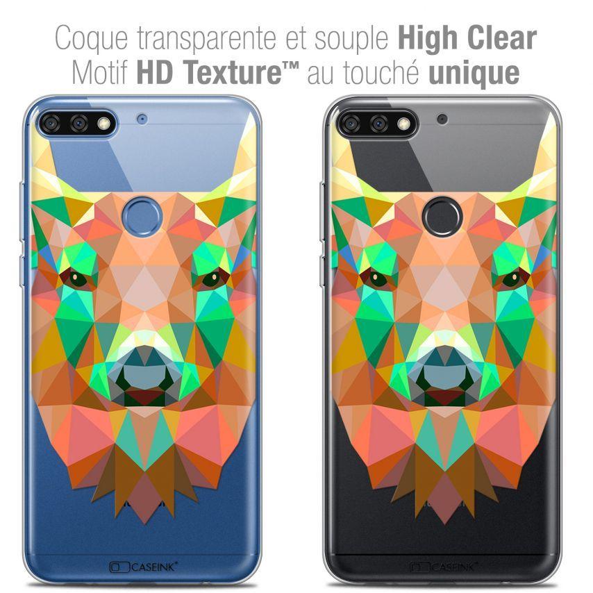 "Coque Crystal Gel Honor 7C (5.99"") Extra Fine Polygon Animals - Cerf"