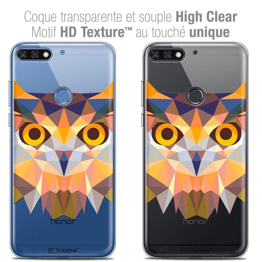 "Coque Crystal Gel Honor 7C (5.99"") Extra Fine Polygon Animals - Hibou"