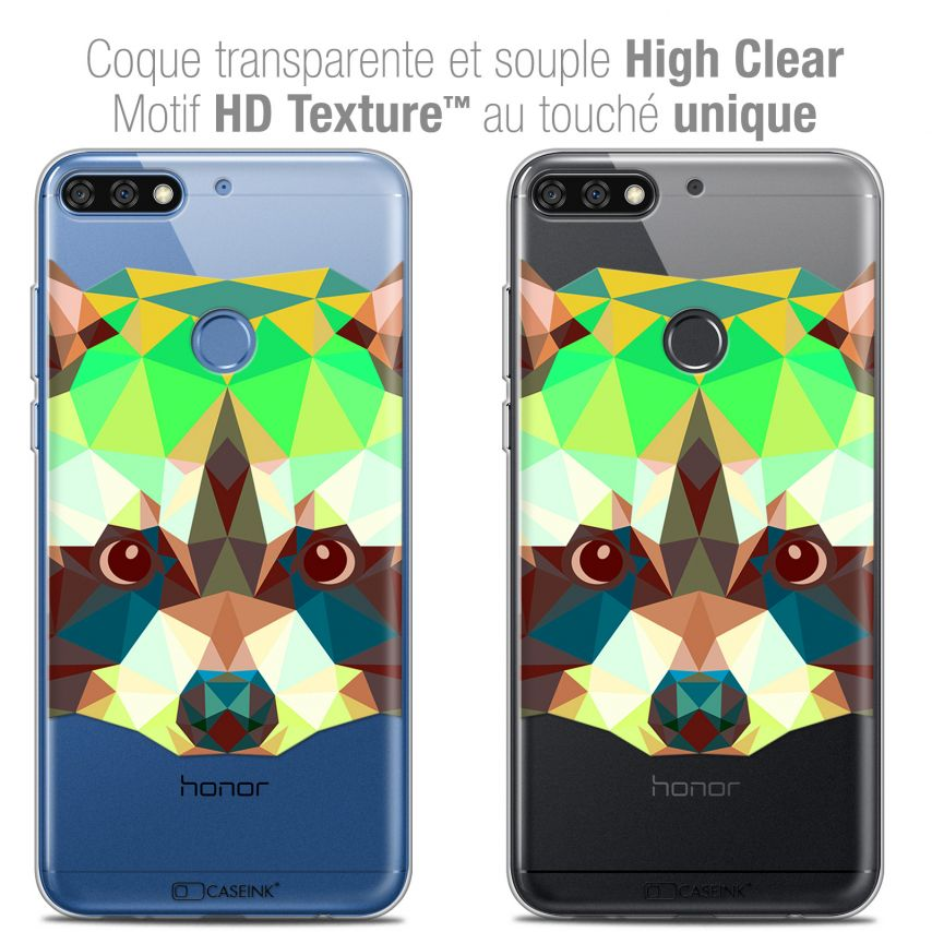 "Coque Crystal Gel Honor 7C (5.99"") Extra Fine Polygon Animals - Raton Laveur"