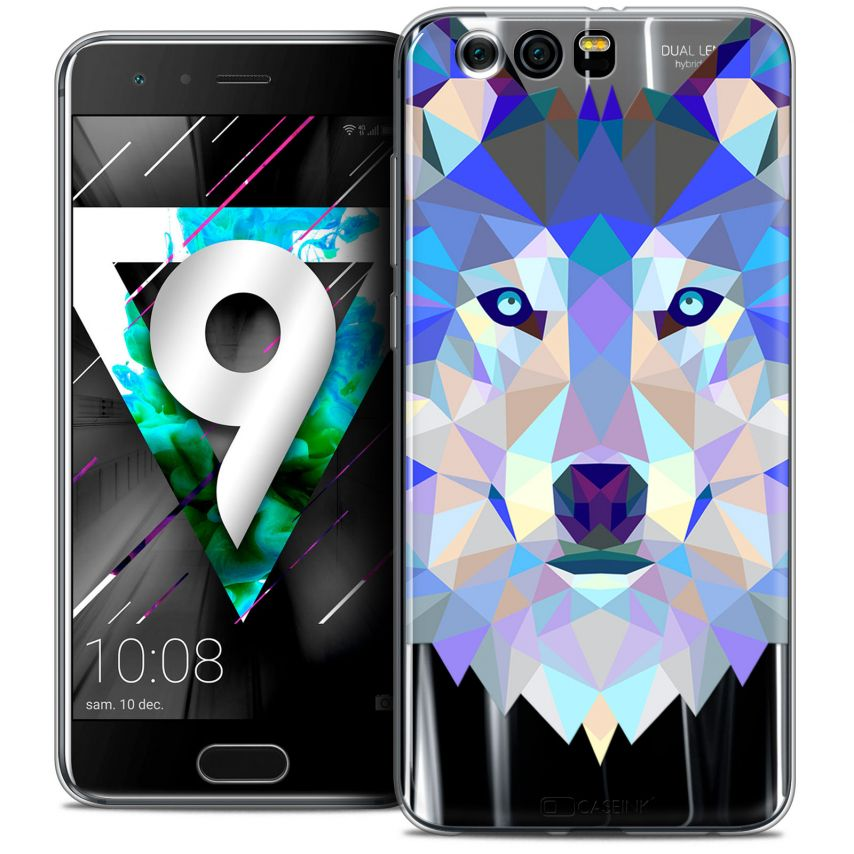 "Coque Crystal Gel Huawei Honor 9 (5.15"") Extra Fine Polygon Animals - Loup"