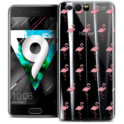 """Coque Crystal Gel Huawei Honor 9 (5.15"""") Extra Fine Pattern - Les flamants Roses"""