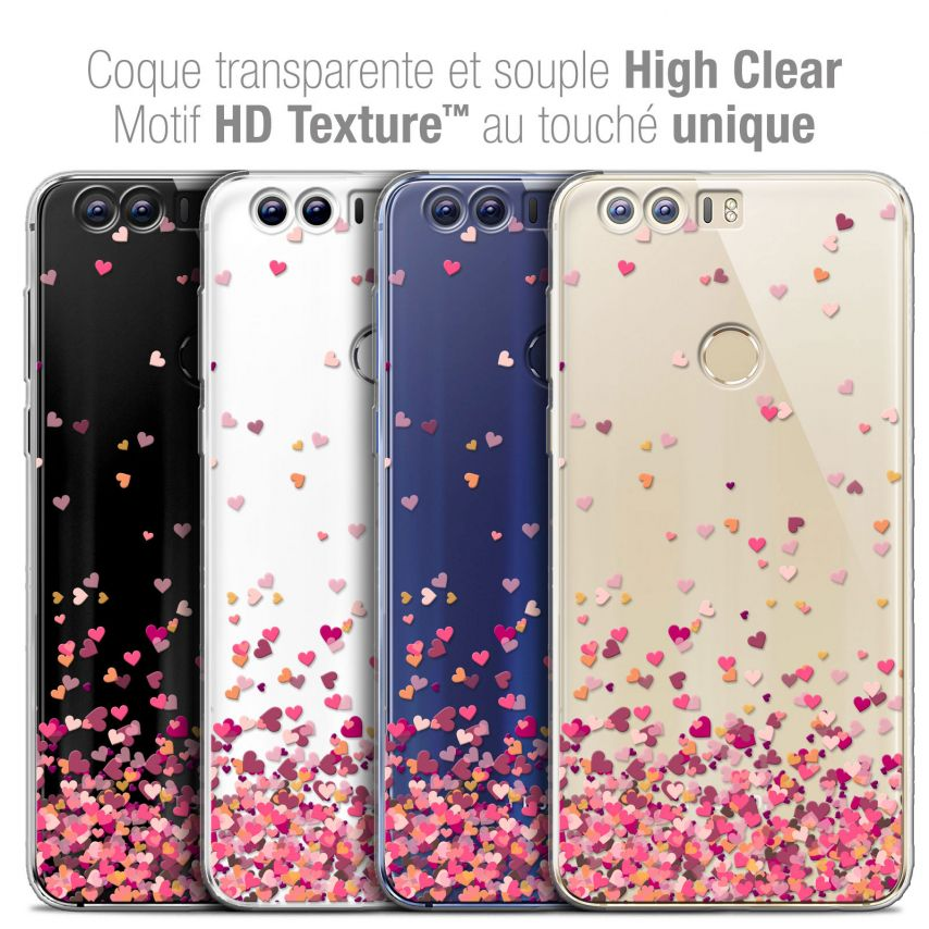"""Coque Crystal Gel Huawei Honor 8 (5.2"""") Extra Fine Sweetie - Heart Flakes"""