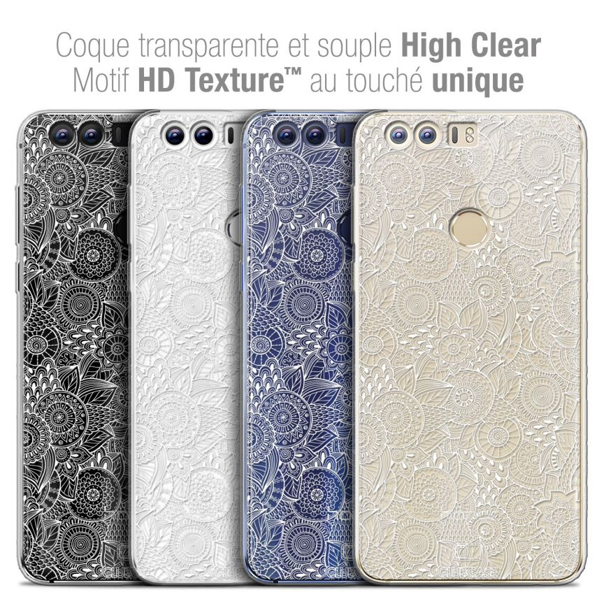 "Coque Crystal Gel Huawei Honor 8 (5.2"") Extra Fine Dentelle Florale - Blanc"