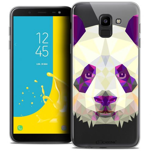 "Coque Crystal Gel Samsung Galaxy J6 2018 J600 (5.6"") Extra Fine Polygon Animals - Panda"