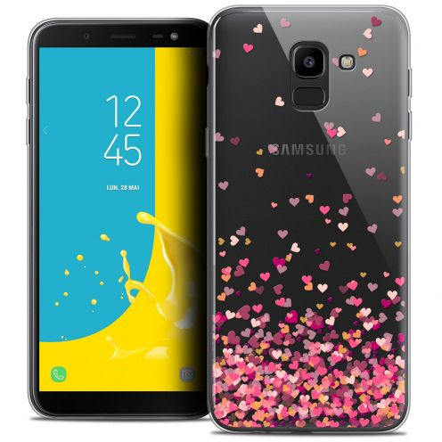 "Coque Crystal Gel Samsung Galaxy J6 2018 J600 (5.6"") Extra Fine Sweetie - Heart Flakes"