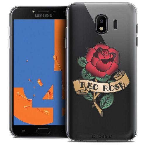 "Coque Crystal Gel Samsung Galaxy J4 2018 J400 (5.5"") Extra Fine Tatoo Lover - Red Rose"