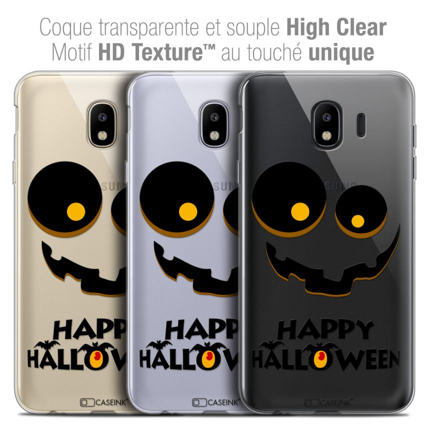 "Coque Crystal Gel Samsung Galaxy J4 2018 J400 (5.5"") Extra Fine Halloween - Happy"